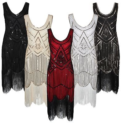 Ro Rox Great Gatsby Costume 1920's Cocktail Party Sequin Fringe Flapper Dress