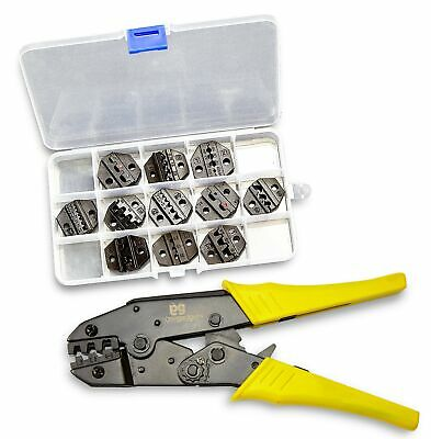Wire Terminal Crimping Tool With 11 Die Sets - For A Perfect Crimp On 10-24 G...