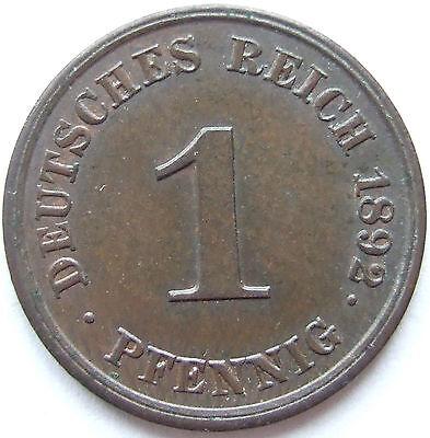 TOP! 1 Pf 1892 J in BANKFRISCH / STEMPELGLANZ SEHR SELTEN !!!