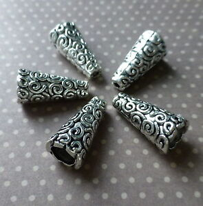 Antique Silver Cone Bead Caps Swirls Pack of 20