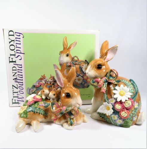 Fitz and Floyd Woodland Spring Rabbit Ornament Pair Figurines 73/181 **Open Box