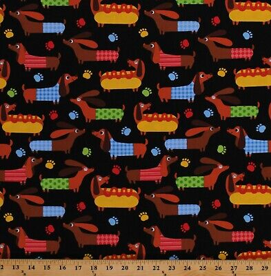 Cotton Dogs Dachshund Puppies Puppy Animals Pets Fabric by the Yard D652.03 for sale  Grand Rapids