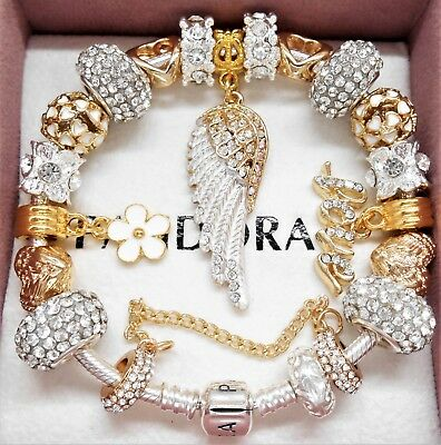 Authentic Pandora Charm Bracelet With Gold Angel Wing Crystal European Charms. - Gold Bracelet Charms