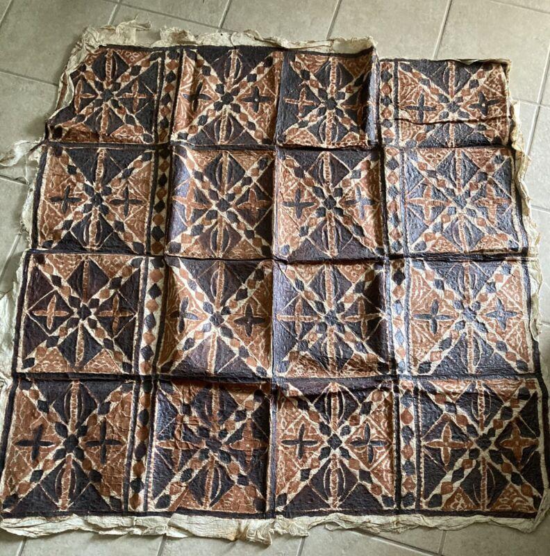 "Old Polynesian Tapa Bark Cloth Pacific Islands Oceania 5' X 4"""