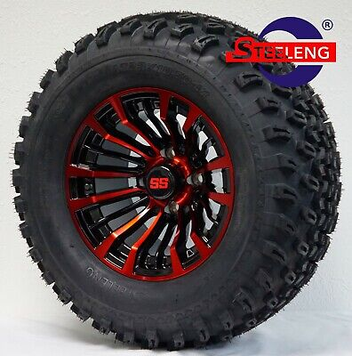 "GOLF CART 12"" Black/Red 'MATADOR' WHEELS/RIMS and 23"" All Terrain TIRES Set of 4"