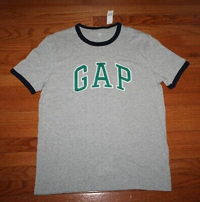 NWT Mens GAP Arch PATCH LOGO Graphic Tee RINGER T-Shirt Grey VINTAGE Style *E4