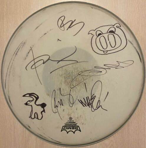 Linkin Park Chester Bennington Mike Shinoda +3 Signed Autographed Used Drumhead