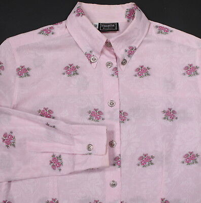 GIANNI VERSACE  Versus Vintage 90's Pink Textured Sheer Floral Blouse~ Small