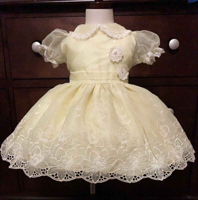 Vintage girls flowers embroidered yellow sheer dress