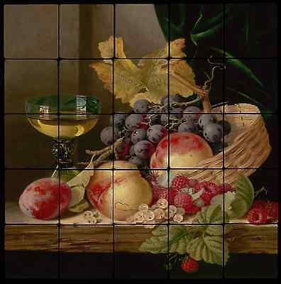 20x20  Fruit Kitchen Backsplash Mural Tumbled Marble Tiles Edward Ladell