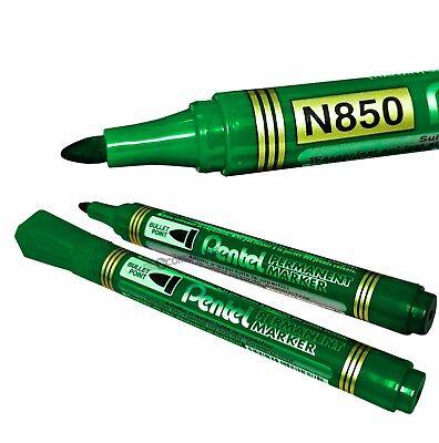 Pentel N850 Permanent Marker Pen. Medium Bullet Point. Green Ink. Anti-roll Cap