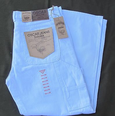 Mens Oscar White Carpenter Painters Denim Jeans 30 32 34 36 38 40 42