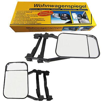 2x  Caravanspiegel Wohnwagenspiegel Universal Auto Pkw verwendbar Aufsetzspiegel