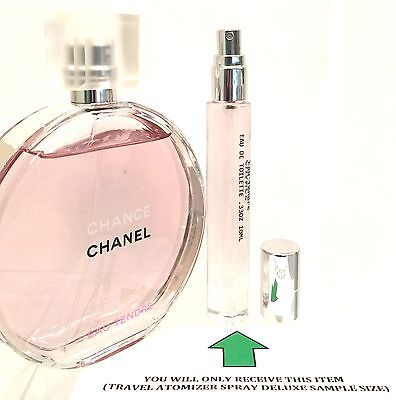 CHANCE CHANEL EAU TENDRE TRAVEL ATOMIZER SPRAY DELUXE SAMPLE PERFUME .33OZ(10ML)