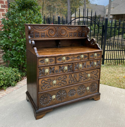 Antique English Chest of 7 Drawers Georgian Brass Lion Pulls CARVED Oak 18th C