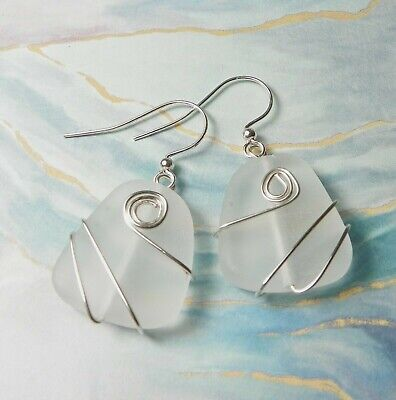 "CLEAR FROSTED sea glass jewelry earrings 1"" handmade silver coil design"
