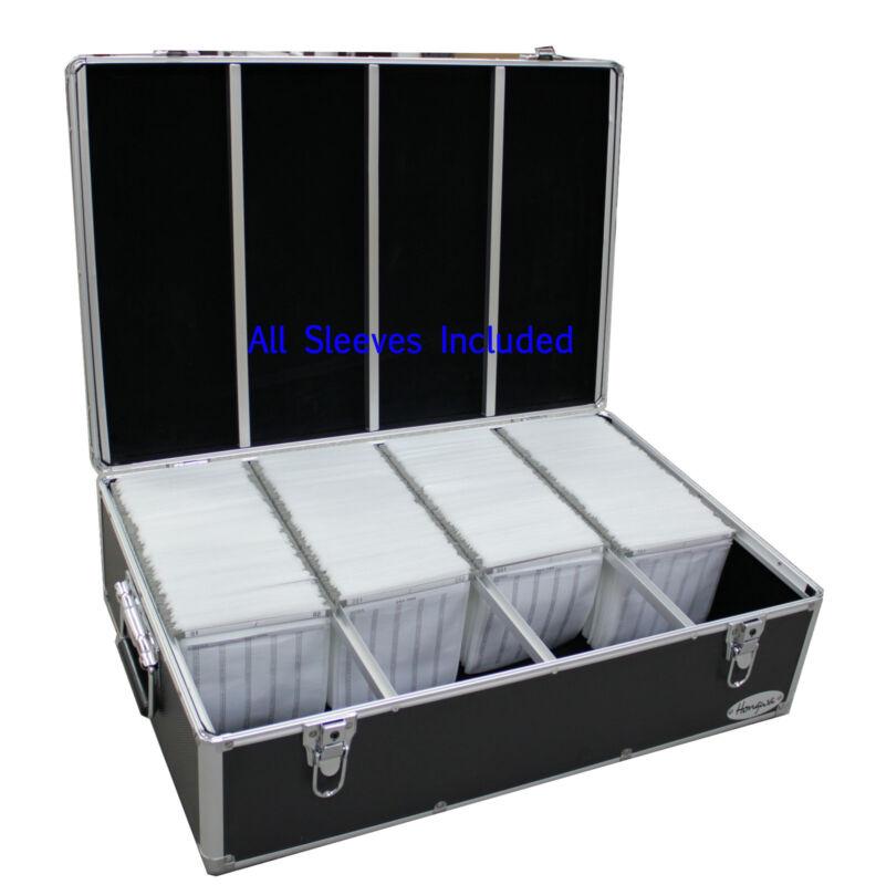 1000 CD DVD Black Aluminum Hard Case For Media Storage Holder w/ Hanger Sleeves