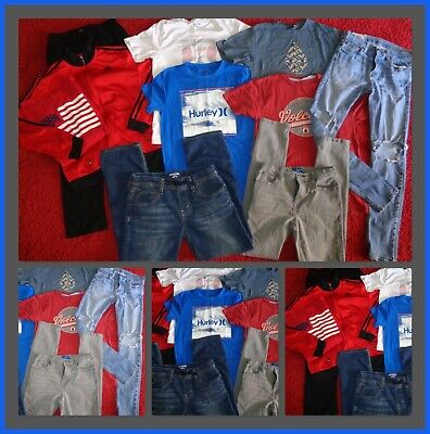 HUGE LOT~BOYS CLOTHES SKINNY JEANS SHIRTS VOLCOM HURLEY ADIDAS JACKET SIZE 14/16 Hurley Kids Clothing