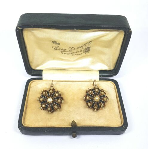 Victorian 18kt Gold enamel earrings with naturals pearls