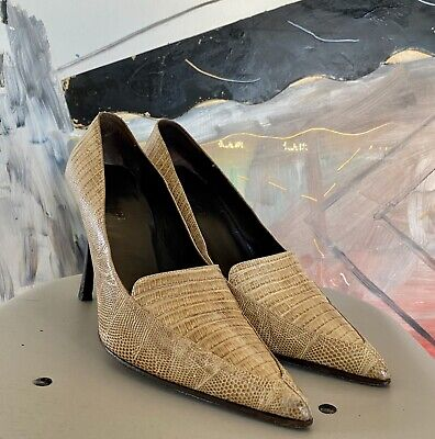 $1,200+ Vintage Gucci Pumps Heel Sandals Leather Lizard 10 B Italy