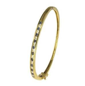 9k Yellow Gold Blue Sapphire Diamond Oval Hinged Bangle Bracelet