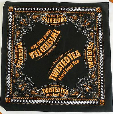 "TWISTED TEA BANDANA Orange/Black/White Handkerchief Scarf 21.5"" >NEW<"