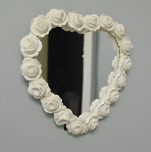 White Rose Wall Mirror Shabby Chic Vintage Gift Heart Love