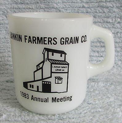 Old 1983 Lankin ND Farmers Grain elevator Co milk white Galaxy glass mug FREE SH