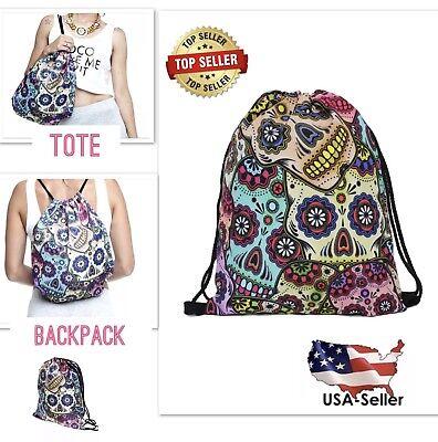 Drawstring Sugar Skull Backpack Day of the Dead String Bag Sack Pack Travel Tote (Drawstring Backpacks)
