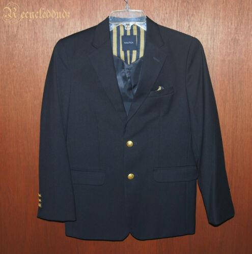 Boys Youth sz 14 Nautica Navy Blue Gold Button Blazer Sport Coat R31