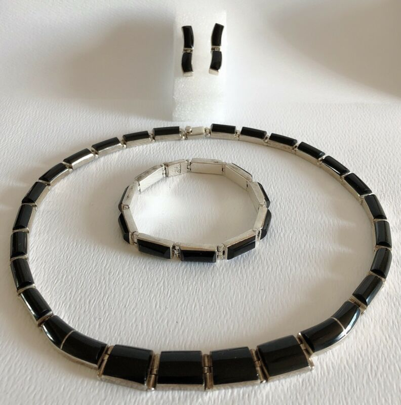 Mexican Sterling Silver Onyx Necklace Bracelet Earring Set