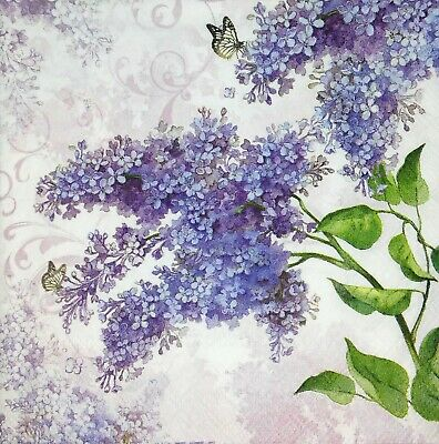 3 x Single Paper Napkins For Decoupage Craft Tissue Purple Lilac Flowers M224