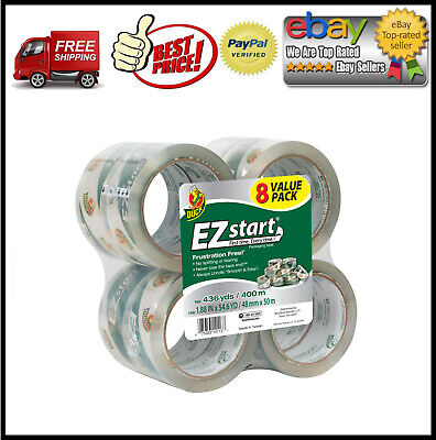 Duck Brand Ez Start Packaging Tape 1.88 Inches X 54.6 Yards Clear 8 Pack
