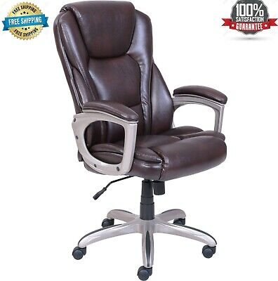 Serta Big Tall Commercial Office Desk Chair With Memory Foam Comfortable Brown
