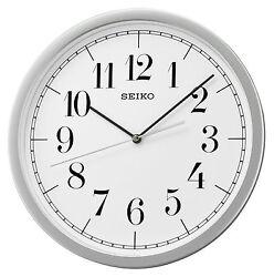 Seiko 12 1/4 inch Diameter Wall Clock White Dial Numbers No Tick Noise QXA636