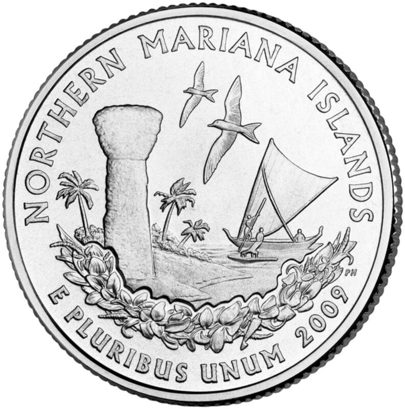 "State Quarter 25c Uncirculated Roll of 40 "" P "" Mint #56 2009 Mariana Islands MP"