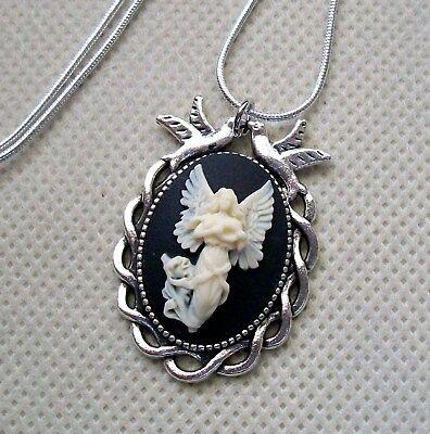 Guardian Angel Cameo Necklace, Love Birds Pendant,.925 Sterling Silver Chain - Guardian Angel Necklace