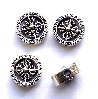 4 ANTIQUE SILVER PATTERNED DISC BEADS CAN BE USED FOR EARRINGS, ETC.