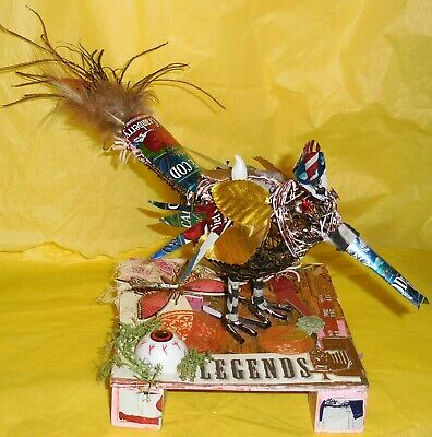 Steampunk Stan Candle Holder Wire Bird Mixed Media Collage OOAK Art