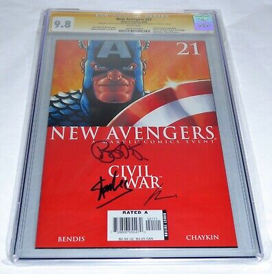 New Avengers # 21 CGC SS 9.8 3x Signature Autograph STAN LEE BENDIS CHAYKIN