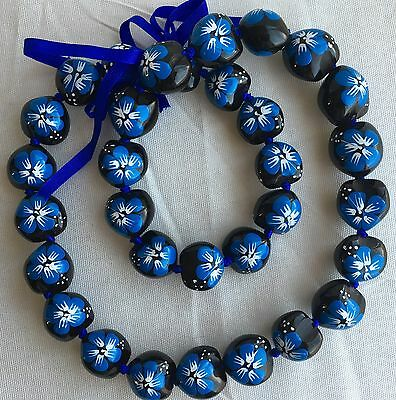 Kukui Nut Lei Hibiscus BLUE Flower Necklace Hawaiian Wedding Luau Graduation NEW