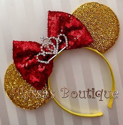 Minnie Mouse Ears Tiara Gold Red Disney Princess Inspired Beauty And The Beast