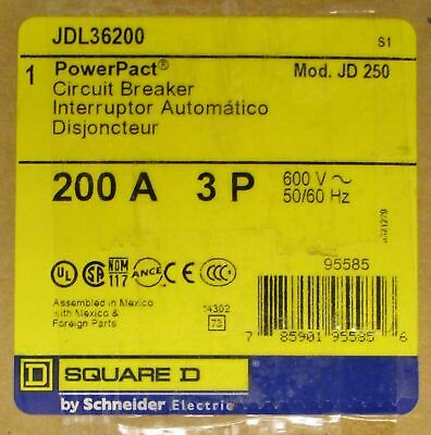 Square D Jdl36200 Circuit Breaker 200 Amp 600 Volt Brand New In Box
