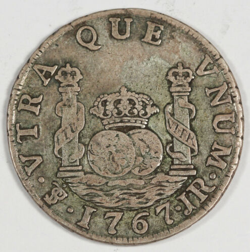 """Bolivia 1767 PTS JR 2 Reales Silver Coin VF Charles III KM#48 Toned """"With Dot"""""""