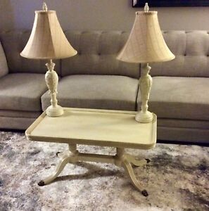 Antique table and lamp set