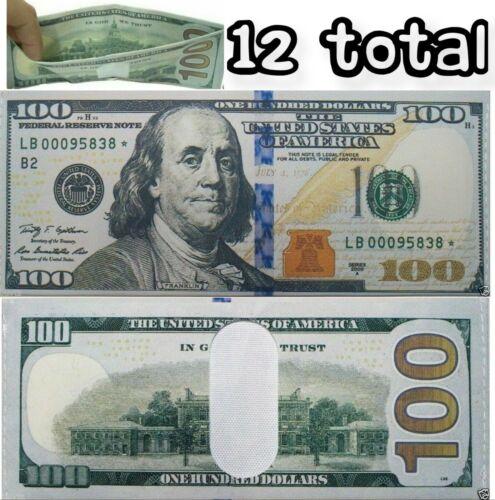 12 Pack - 100 Hundred Dollar Bill Wallets Money Bi-Fold Card Holder - US SELLER