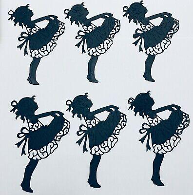 ADORABLE! LITTLE GIRL HOLDING DRESS UP SILHOUETTE DIE CUT /CUTS EMBELLISHMENTS - Slash Dress Up