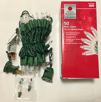 (50 Mini String Lights Clear White Christmas Green Wire Outdoor Indoor (10ft))