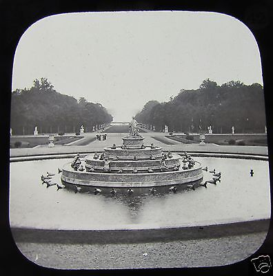 Glass Magic lantern slide VERSAILLES - VIEW OF GARDENS C1890 FRANCE