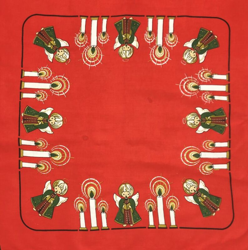 """Vintage Christmas Holiday Angels & Candles 33x35"""" Red Tablecloth Topper (RF957)"""